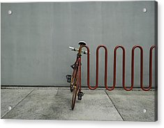 Acrylic Print featuring the photograph Curved Rack In Red - Urban Parking Stalls by Steven Milner