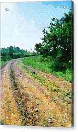 Curved Road Painting Acrylic Print by George Fedin and Magomed Magomedagaev