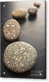 Curving Line Of Speckled Grey Pebbles On Dark Background Acrylic Print by Colin and Linda McKie