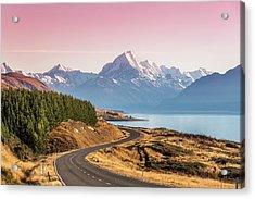 Curvy Road Leading To Mt Cook Aoraki At Acrylic Print