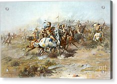 Custers Fight Acrylic Print by Pg Reproductions