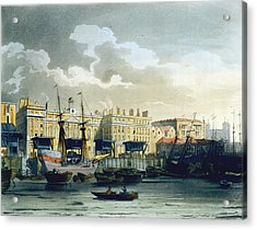 Custom House From The River Thames Acrylic Print by T. & Pugin, A.C. Rowlandson