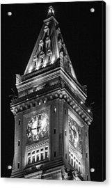 Custom House In Boston Black And White Acrylic Print