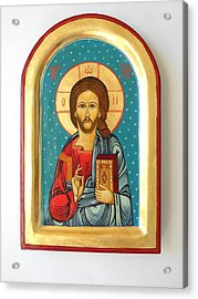 Custom Jesus Christ Pantokrator Hand Painted Byzantine Icon Christian Art First Communion Gift  Acrylic Print by Denise ClemencoIcons