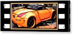 Custom Orange Sports Car Acrylic Print by Danielle  Parent