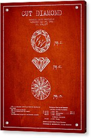 Cut Diamond Patent From 1966 - Red Acrylic Print