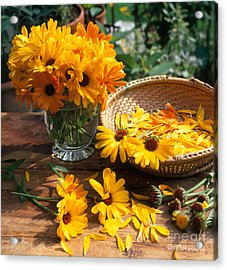 Cut Flowers With Basket And Vase Acrylic Print