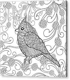 Cute Bird In Fantasy Flower Garden Acrylic Print by Palomita