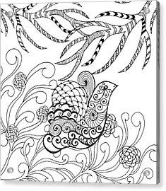 Cute Bird In Flower Garden. Animals Acrylic Print