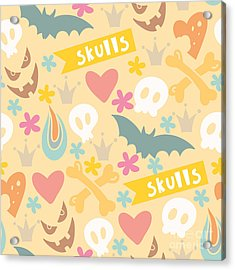 Cute Cartoon Seamless Pattern With Acrylic Print by Marushabelle