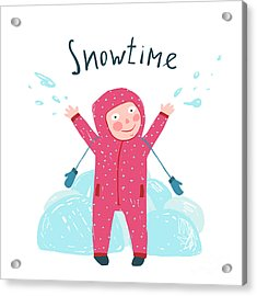 Cute Child Girl In Winter Clothes Acrylic Print