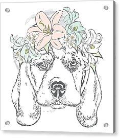 Cute Dog In A Wreath Of Roses . Vector Acrylic Print