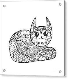 Cute Kitten. Black White Hand Drawn Acrylic Print