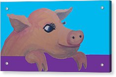 Cute Pig 1 Acrylic Print by Cherie Sexsmith