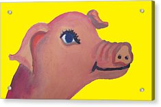 Cute Pig On Yellow Acrylic Print by Cherie Sexsmith