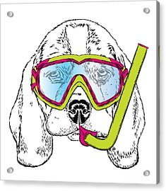 Cute Puppy Wearing A Mask For Diving Acrylic Print