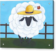Cute Sheep Nursery Art Acrylic Print by Christy Beckwith