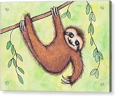 Sloth Acrylic Print by Melissa Rohr Gindling