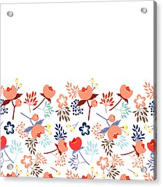 Cute Vector Seamless Pattern With Acrylic Print by Vavavka