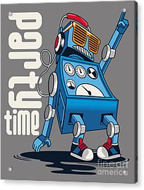 Cute Vintage Dancer Robot, Party, Vector Acrylic Print by Braingraph