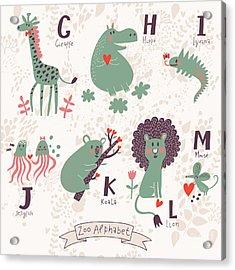 Cute Zoo Alphabet In Vector. G, H, I Acrylic Print