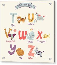 Cute Zoo Alphabet In Vector. T, U, V Acrylic Print