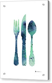 Cutlery Silhouette Art Print Watercolor Painting Acrylic Print