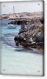 In Cala Pudent Menorca The Cutting Rocks In Contrast With Turquoise Sea Show Us An Awsome Place Acrylic Print