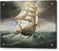 Cutty Sark Caught In A Squall Acrylic Print by Eric Bellis