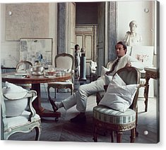 Cy Twombly Sitting In His Apartment Acrylic Print
