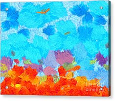 Cyan Landscape Acrylic Print