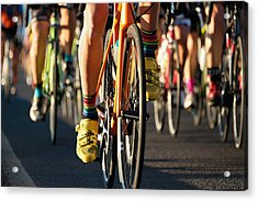 Cycling Competition,cyclist Athletes Riding A Race Acrylic Print by Pavel1964