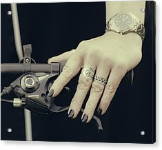 Acrylic Print featuring the photograph Cycling Lady by Ari Salmela