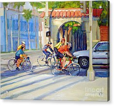Cycling Past The Archway Acrylic Print