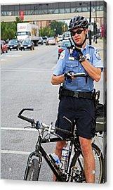 Cycling Policeman Acrylic Print by Jim West
