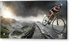 Cyclist Climbs To The Top Acrylic Print
