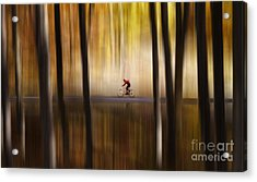 Cyclist In The Forest Acrylic Print