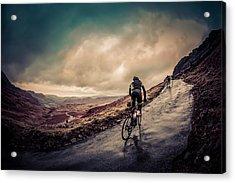 Cyclist On Hardknott Ramp Acrylic Print by Steve Fleming