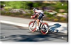 Acrylic Print featuring the photograph Cyclist Racing The Clock by Kevin Desrosiers