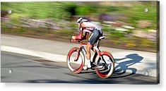 Acrylic Print featuring the photograph Cyclist Time Trial by Kevin Desrosiers
