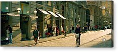 Cyclists And Pedestrians On A Street Acrylic Print by Panoramic Images