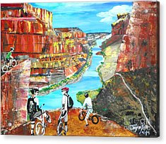 Cyclists In Grand Canyon Acrylic Print