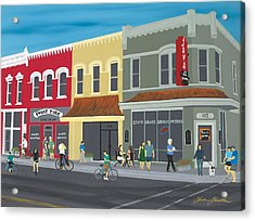 Cyclists On The Square Acrylic Print by Clinton Cheatham