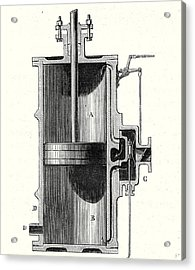 Cylinder And Slide Of A Machine Without Condenser Acrylic Print by English School