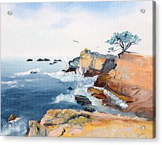 Acrylic Print featuring the painting Cypress And Seagulls by Asha Carolyn Young