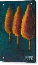 Acrylic Print featuring the painting Cypress Trees by Sandy Linden