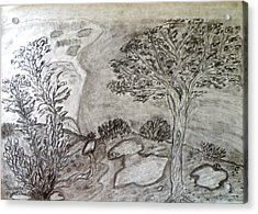 Cypresses In Cyprus Acrylic Print by Augusta Stylianou