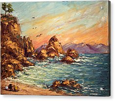 Cyprus Point Monterey Paint Along With Nancy Pbs Acrylic Print by    Michaelalonzo   Kominsky
