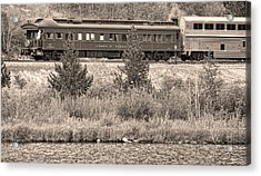 Cyrus K  Holliday Private Rail Car Bw Sepia Acrylic Print by James BO  Insogna