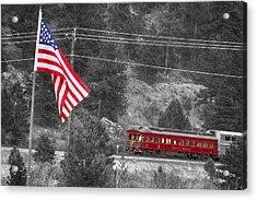 Cyrus K. Holliday Rail Car And Usa Flag Bwsc Acrylic Print by James BO  Insogna